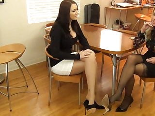 Sexy girls fet pics - Two sexy girls in pantyhose footjob 2