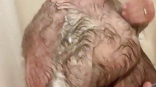 Hairy Bear Taking Shower