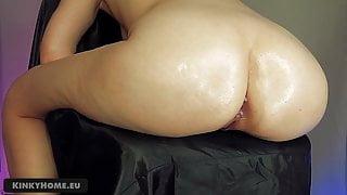 Long dildo in big ass - tied girl