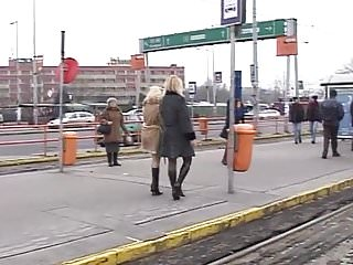Public flash and piss 2 kinky blondes girls risky pissing on real public streets