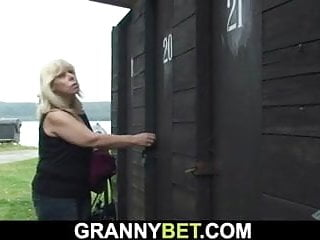 Busty changing rooms Busty old blonde granny takes cock in the changing room