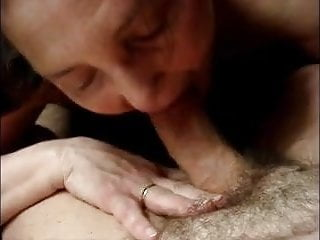 Tip of his cock Horny widow sucking the tip