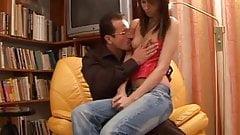 Hot brunette sex lesson