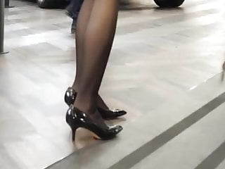 In ladys mature pantyhoses Candid lady in a car expo