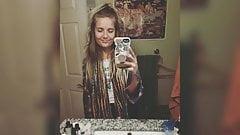 Stoner garota amber cavalga pau - dreadsocks loira hippie