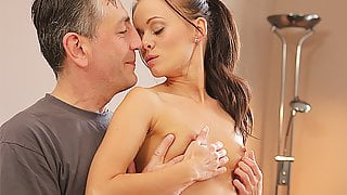 OLD4K. Lovely chick wasn't against sex with handsome old...