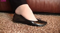 Caroline black flats shoeplay dangle off nylon PREVIEW