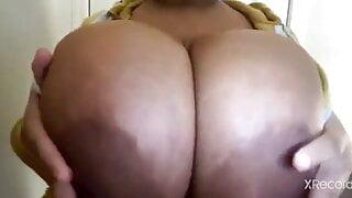 Brunette Showing Off Her Juggs