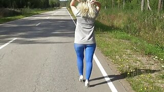 My big ass in blue pantyhose on the street