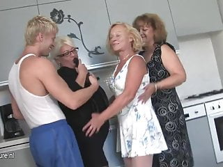 Naked women party - Three mature women party with one hard cock