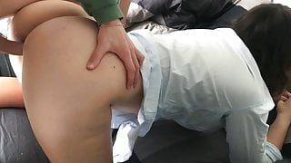 Stepsister caught jerking off and helped to cum