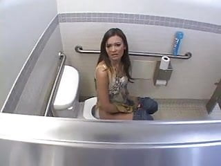 Man in womens bikini Brunette gets her ass fucked in womens toilet