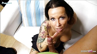 German Tattoo Aunt catch Webcam by Step Nephew and get Blow