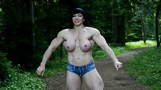 topless flexing in the woods