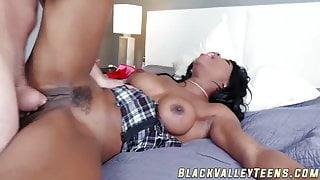 Tasty ebony schoolgirl gets fucked and fed with cum