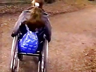 Lee wheelchair porn - Lesbian teen in a wheelchair meets her girlfriend in the par