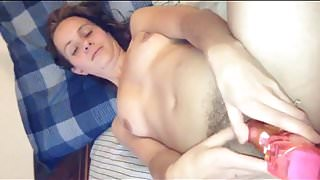 31 yo step mom  amy using toy  while being carressed by lover