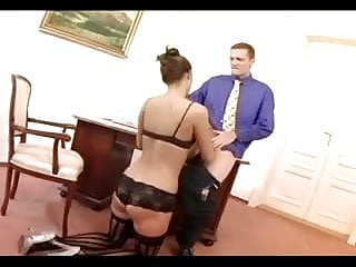 High price lingerie Pretty secretary fucking in thigh high stockings