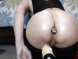 Girl crys wile being fucked - Big ass girl with plug in, creams being fucked by machine