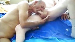 2 grandpas suck and finger ass