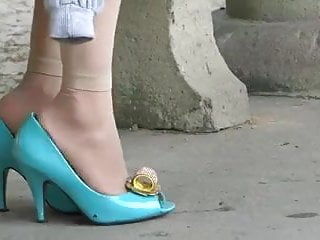 Candid asian sex Candid asian shoeplay in blue high heels and nylons