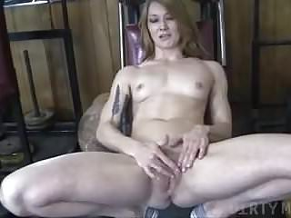 Fitness girl fucked Naked fit redhead cums from finger fucking herself