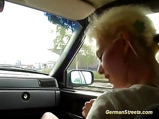 Car sex sports German milf picked up for wild car sex
