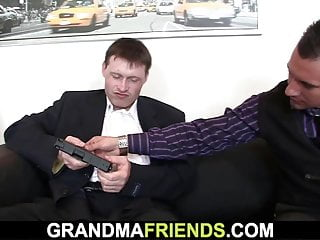 Milf business woman - Business woman spreads legs for two guys