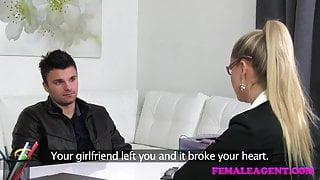FemaleAgent MILF fixes studs broken heart with her tongue