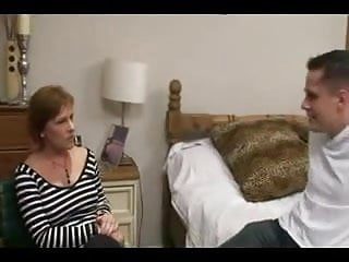 Mature woman young lad Busty milf strips and fucks young lad