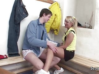 Lessons mature Milf teacher seduce young boy to fuck after sport lesson