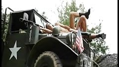 Military daddy fucks twink on the hood of a truck