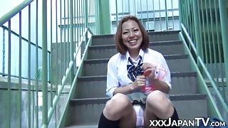 Very pretty Japanese schoolgirls masturbate in public