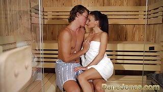 Dane Jones Big cock fuck in steamy sauna for skinny petite