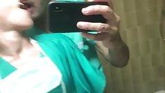 Fuck my collegue nurse at the toilet