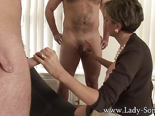Dress covered in cum - Lady sonia fucks 2 guys gets covered in cum