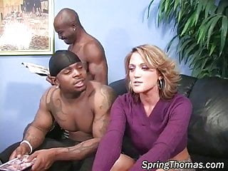 Spunk mouth spring thomas - Slim blonde 3 black cocks dp dpp