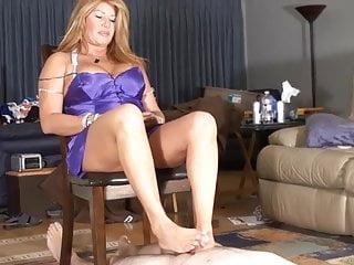 Lesbian lesbian slicking Step-mom gives cuck slick footjob