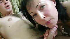 Hot milk sucking cock and playing with cum.