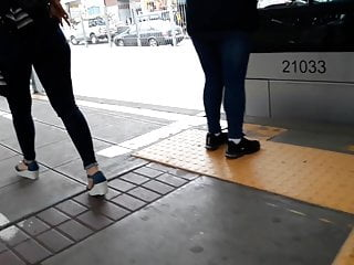 Tight jeans milf - Sexy milf in tight jeans waiting for bus - 1