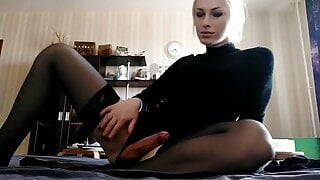 Blonde tranny fooling around and Cumming on her hand
