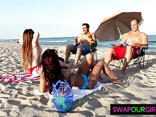 Naked mother daugher Beach bait and daugher swapping