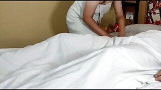 Pinay maid massages boss' cock after fucking madam