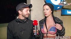 German reporter milf picks up guy in street casting