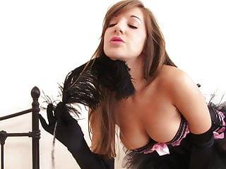 Fetish gloves handjobs - Sexy slut in gloves and a tutu masturbates with a fuck toy