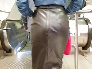 Leather skirt cum - Sexy slim girl in a leather skirt