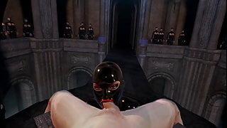 3D VR SFM Bondage Latex Mistress With Huge Tits Sucks off Slave
