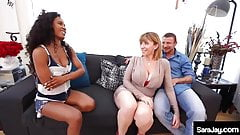 Baby Sitter Demi Sutra N Curvy MILF Sara Jay Fuck One Cock!