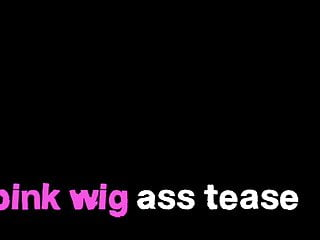 Wigs lingerie Pink wig ass tease