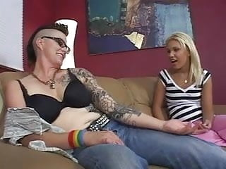 Natural girlie busty Trucker lesbian makes a move on a girly closet lesbian